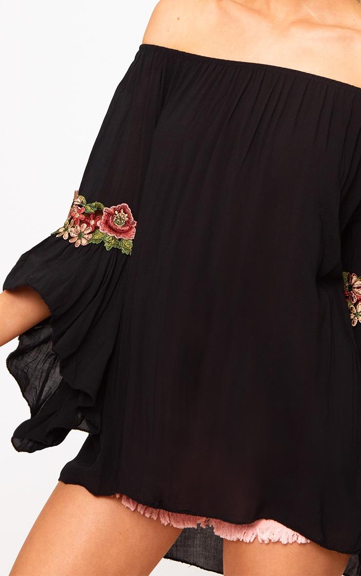 Black Soft Embroidered Applique Sleeve Bardot Top 4