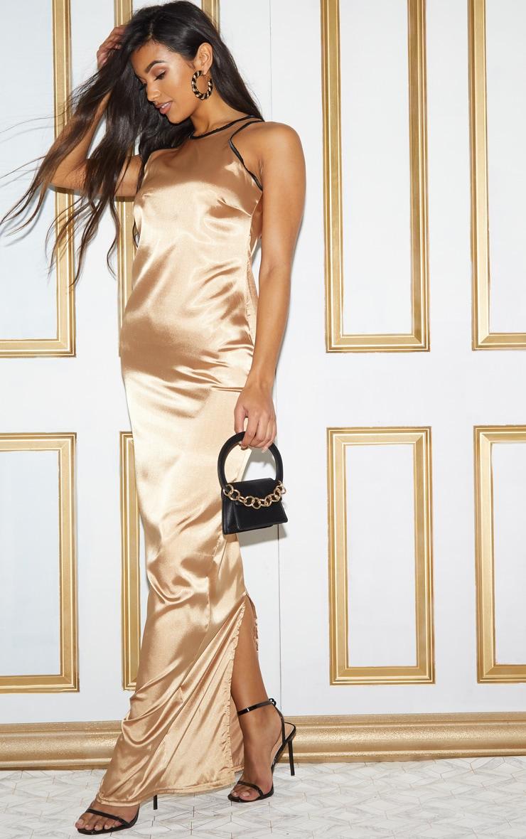 Gold Satin Contrast Piping Maxi Dress 3