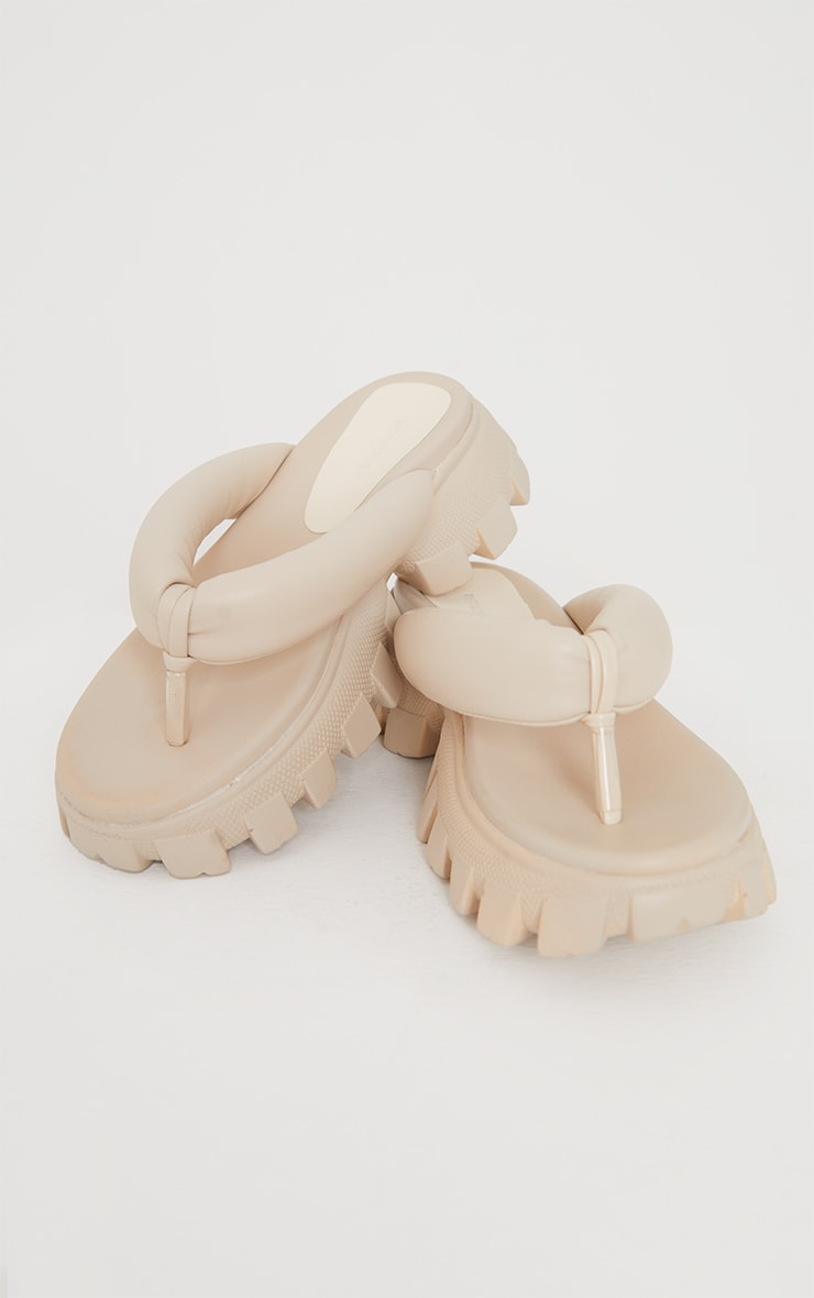 Cream Toe Post Cleated Sole Chunky Sandals 4