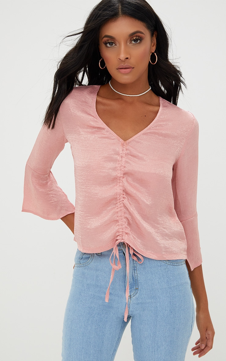 Pink Ruched Front Frill Sleeve Satin Top  1