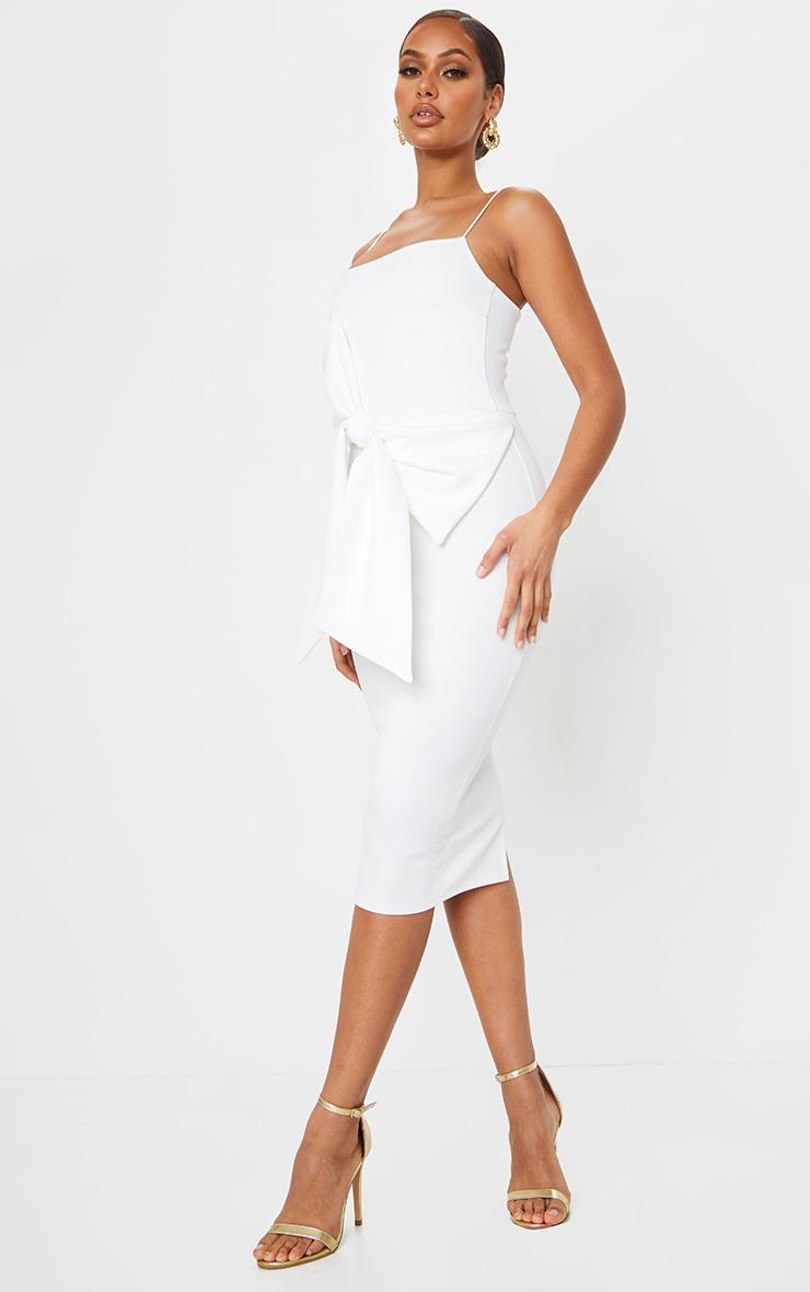 White Bow Front Detail Midi Dress 3