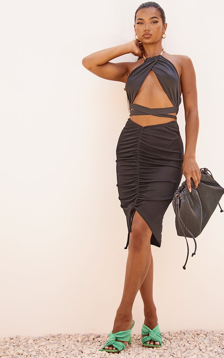 Black Acetate Slinky V Front Ruched Midi Skirt 4