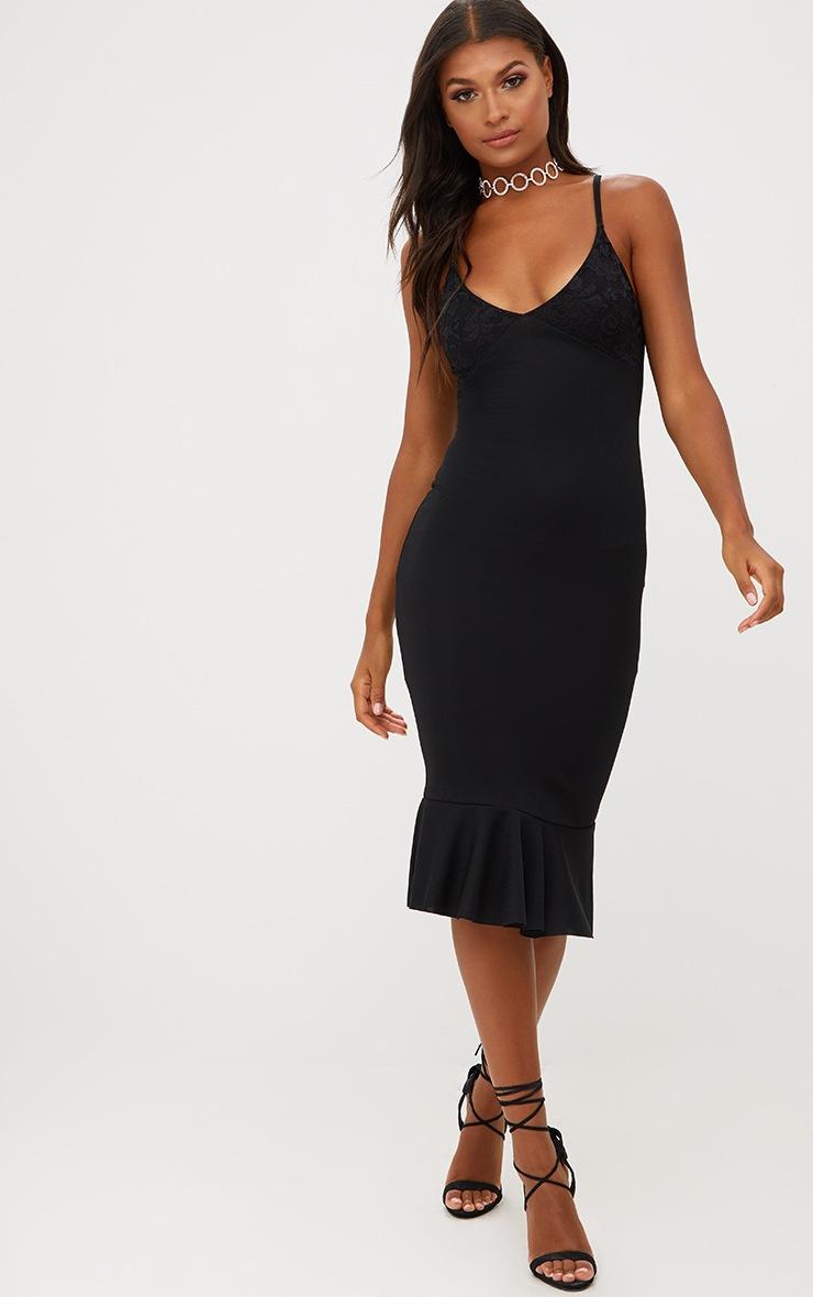 Black Lace Top Frill Hem Midi Dress 4
