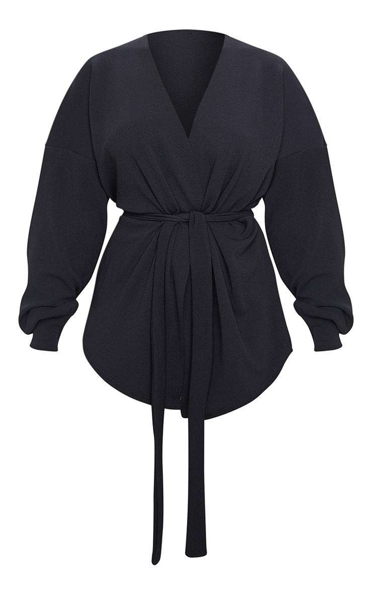 Petite Black Oversized Sleeve Belted Blazer 3