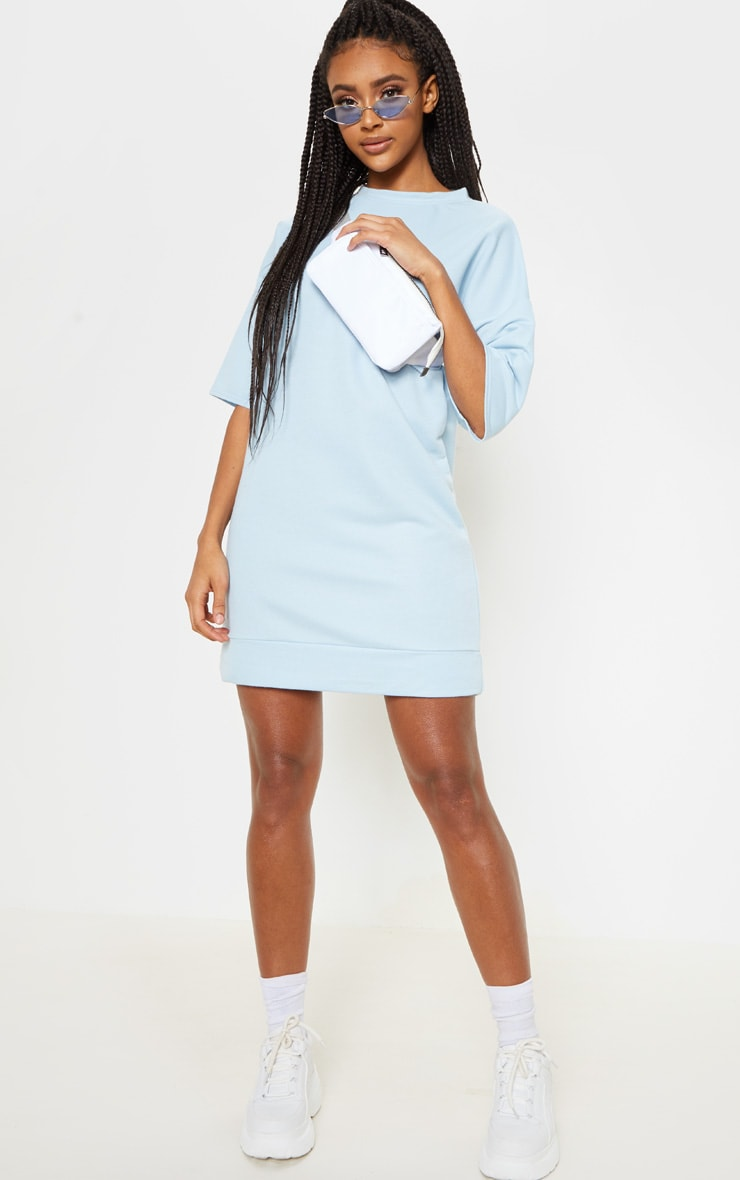 Baby Blue Short Sleeve Sweat T-shirt Dress 4