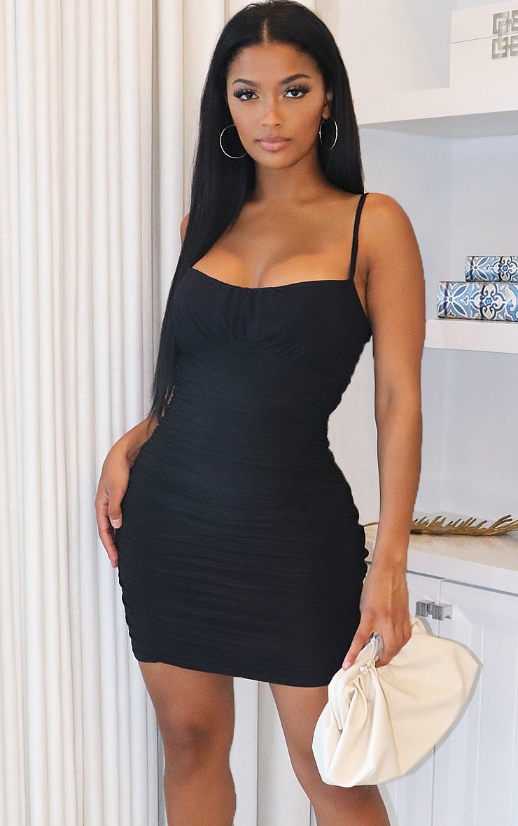 Shape Black Slinky Extreme Ruched Bodycon Dress 1