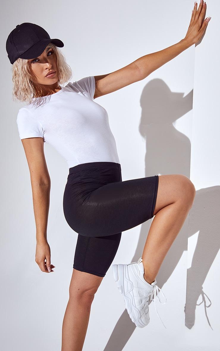 Basic Black Cotton Blend Cycle Shorts 4