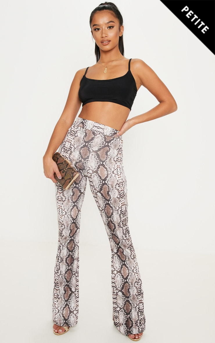 Petite Taupe Slinky Snake Print Flared Trousers