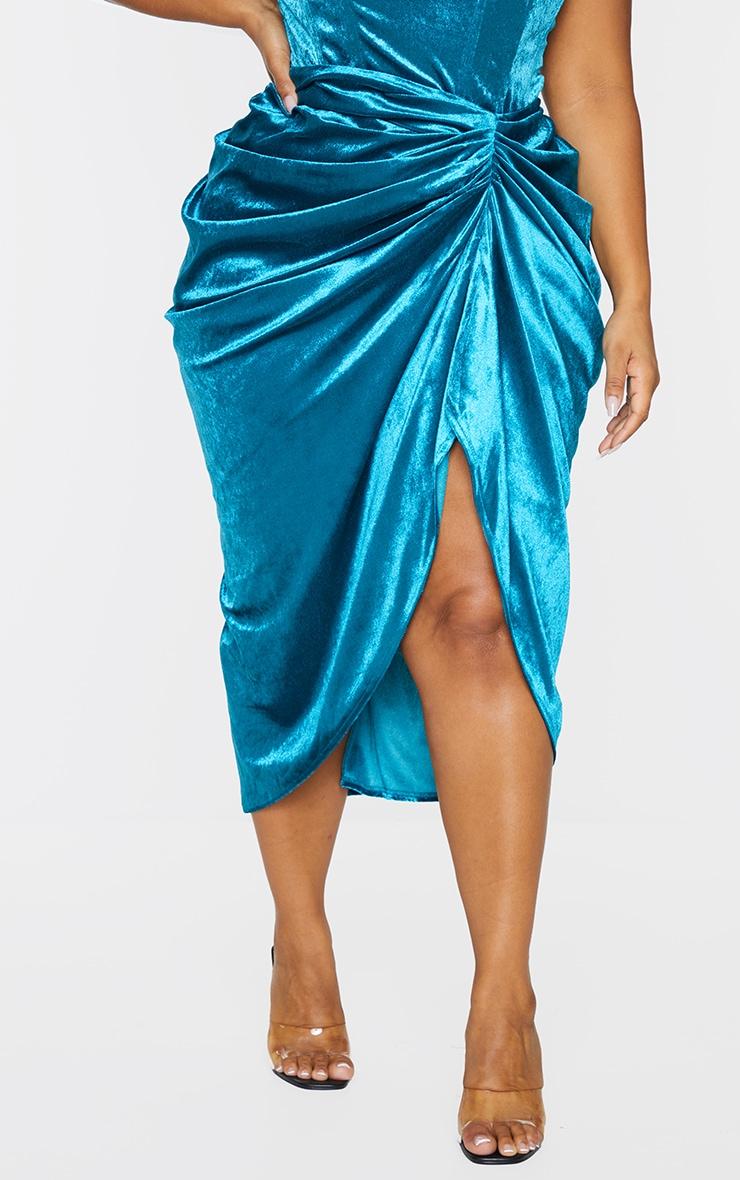 Plus Teal Velvet Ruched Side Midi Skirt 2