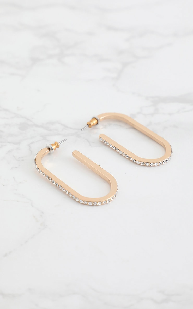 Gold Oval Diamante Hoops 3