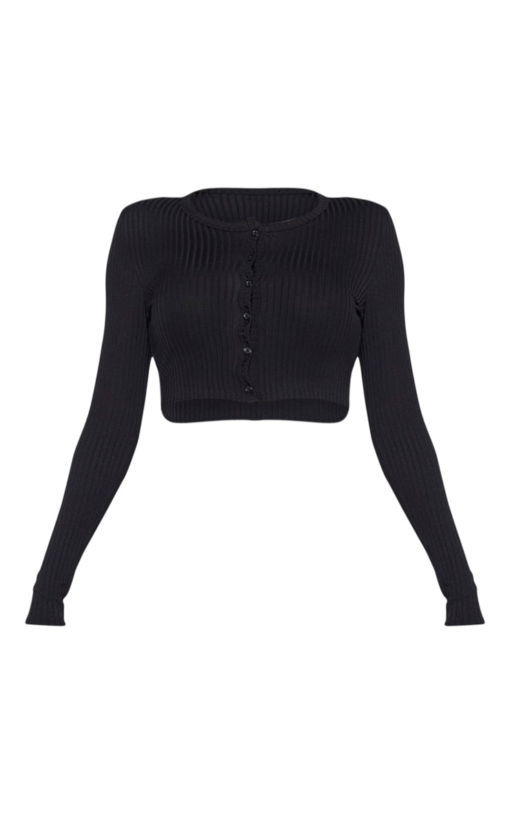 Tall Black Ribbed Button Detail Long Sleeve Crop Top 3