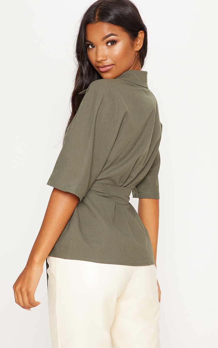 Khaki Oversized Short Sleeve Tie Shirt 2
