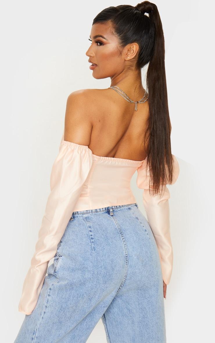Blush Pink Satin Long Sleeve Bardot Corset Top 2