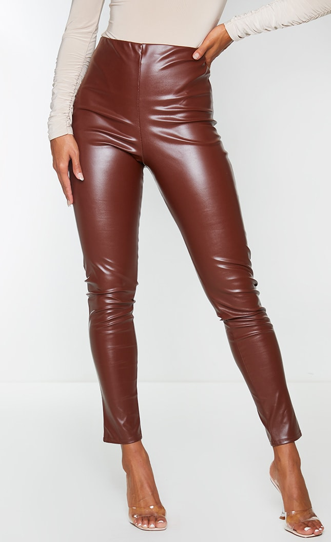 Chocolate Ruched Faux Leather Legging 2