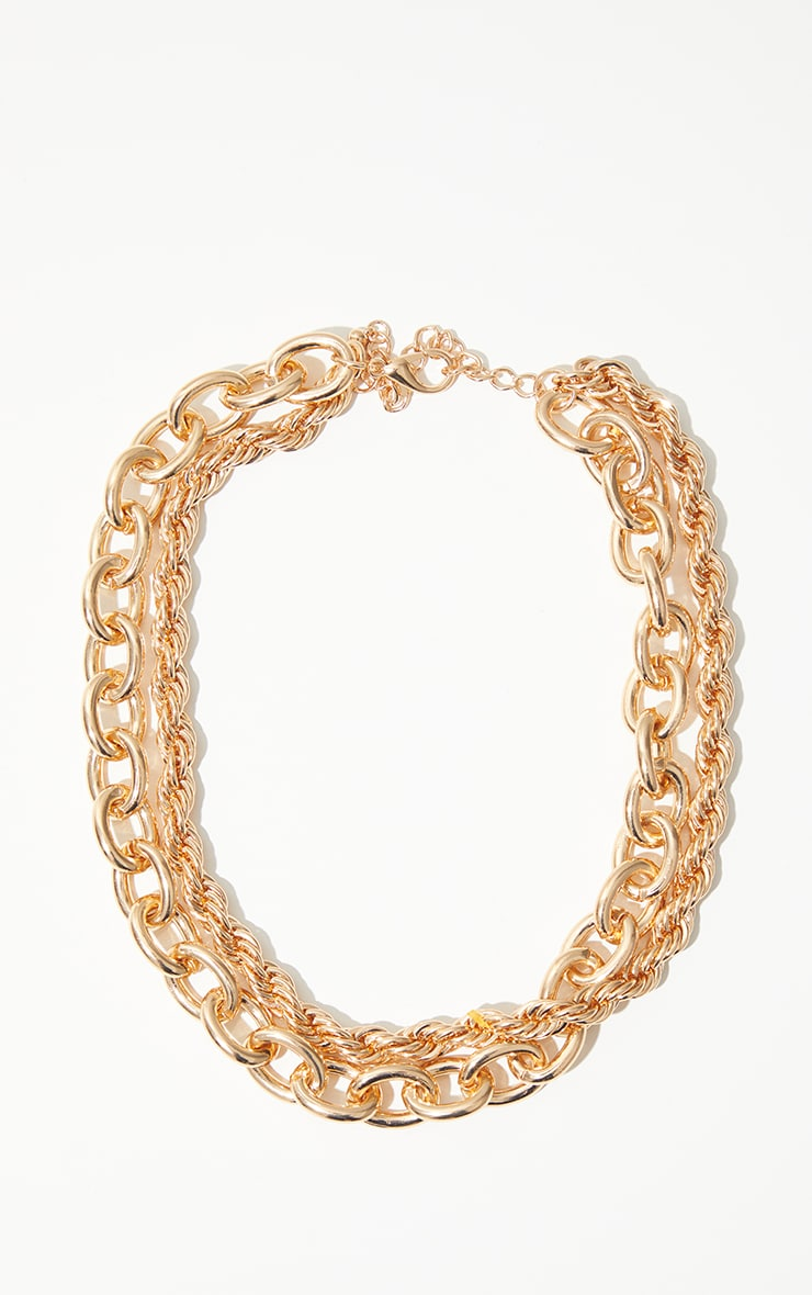 Gold Oversized Chunky Oval And Rope Chain Layering Necklace 3