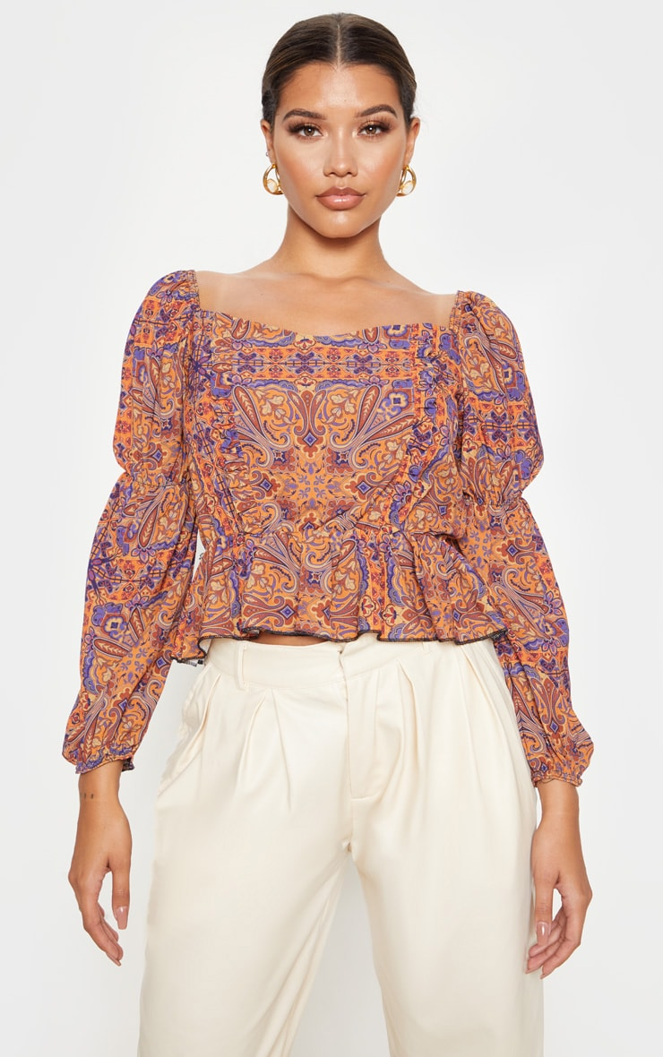 Rusty Paisley Printed Frill Square Neck Blouse 1
