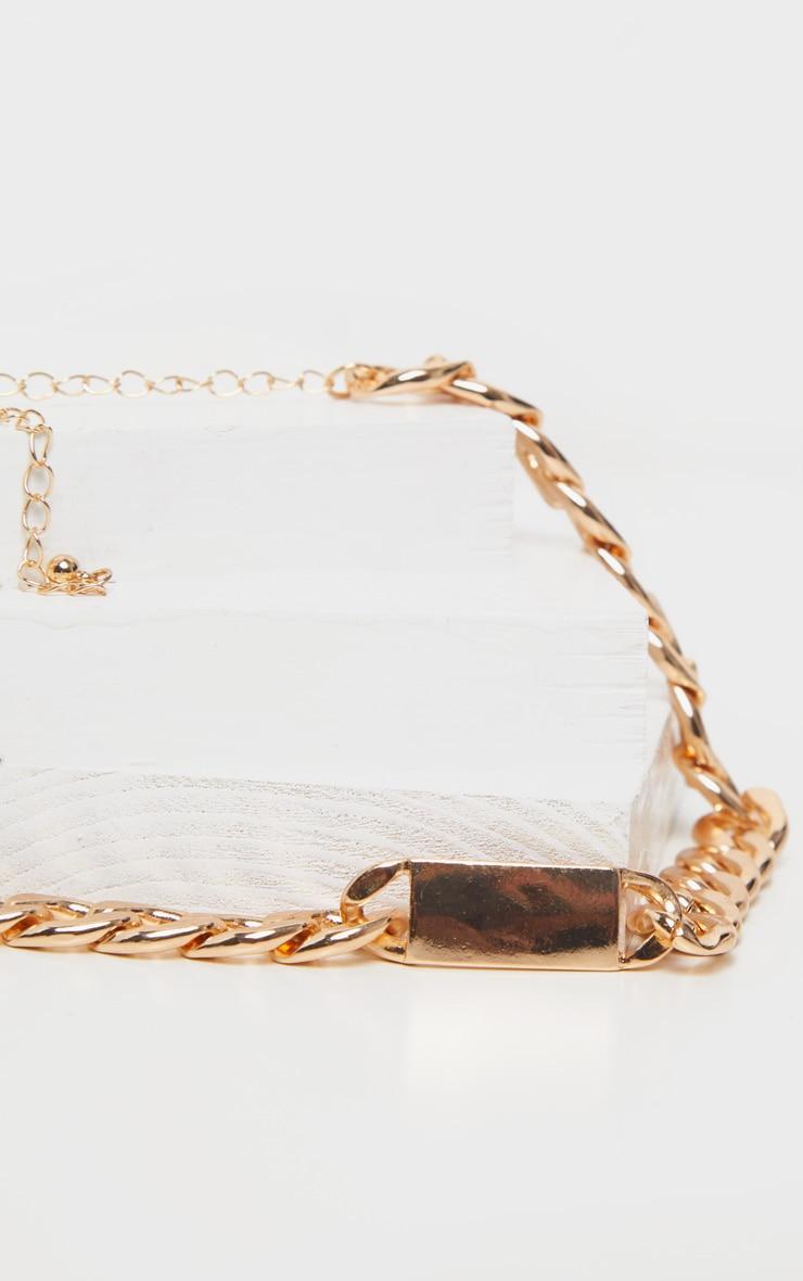 Gold Bar Chain Choker Necklace 3