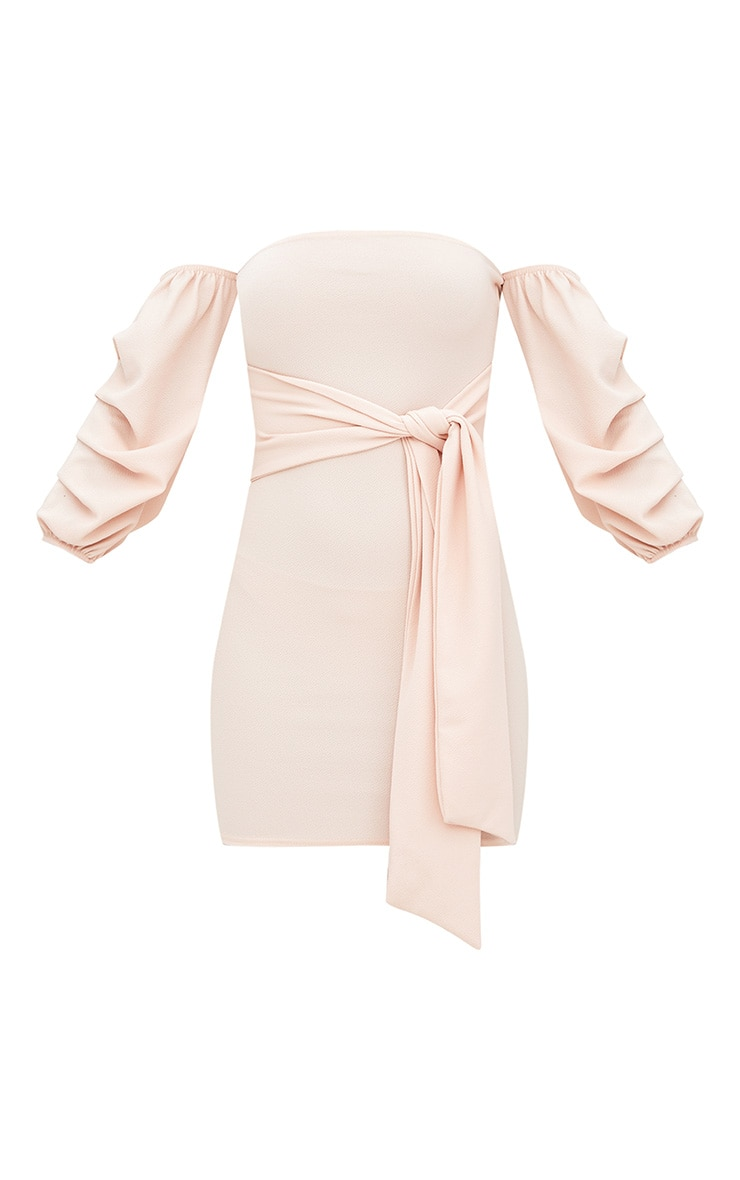 Nude Puff Sleeve Tie Front Bodycon Dress 3