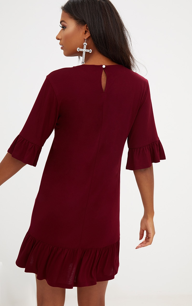 Burgundy Jersey Frill Hem Shift Dress 2