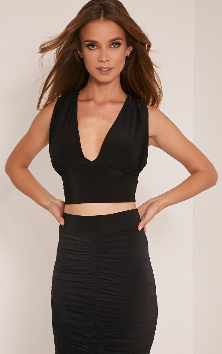 Nicole Black Ruched Slinky Sleeveless Crop Top 1