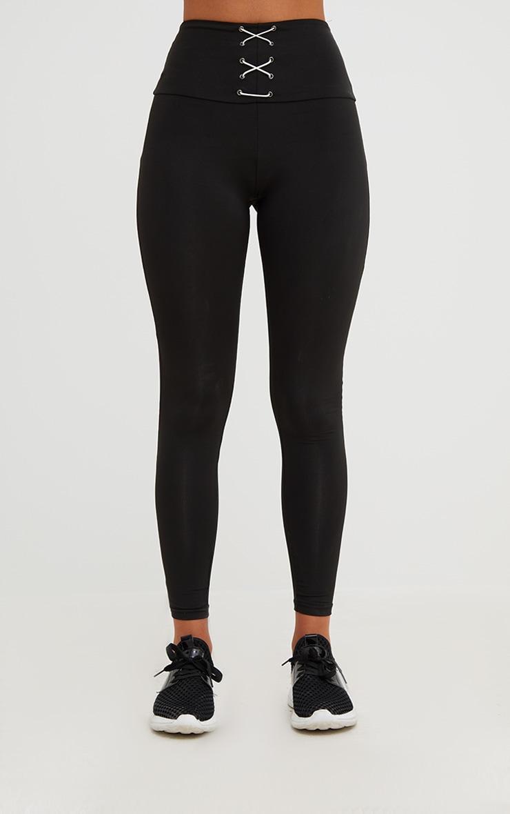 Legging noir à détail corset 3