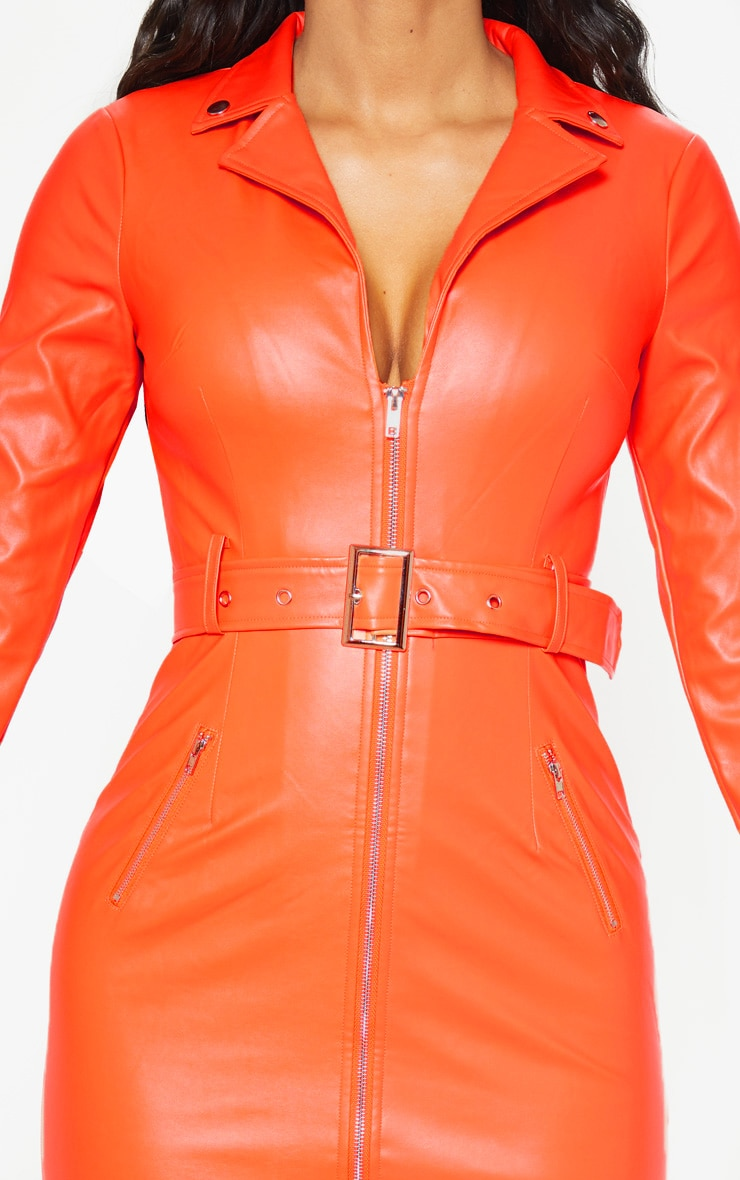 Orange Faux Leather Biker Buckle Bodycon Dress 5