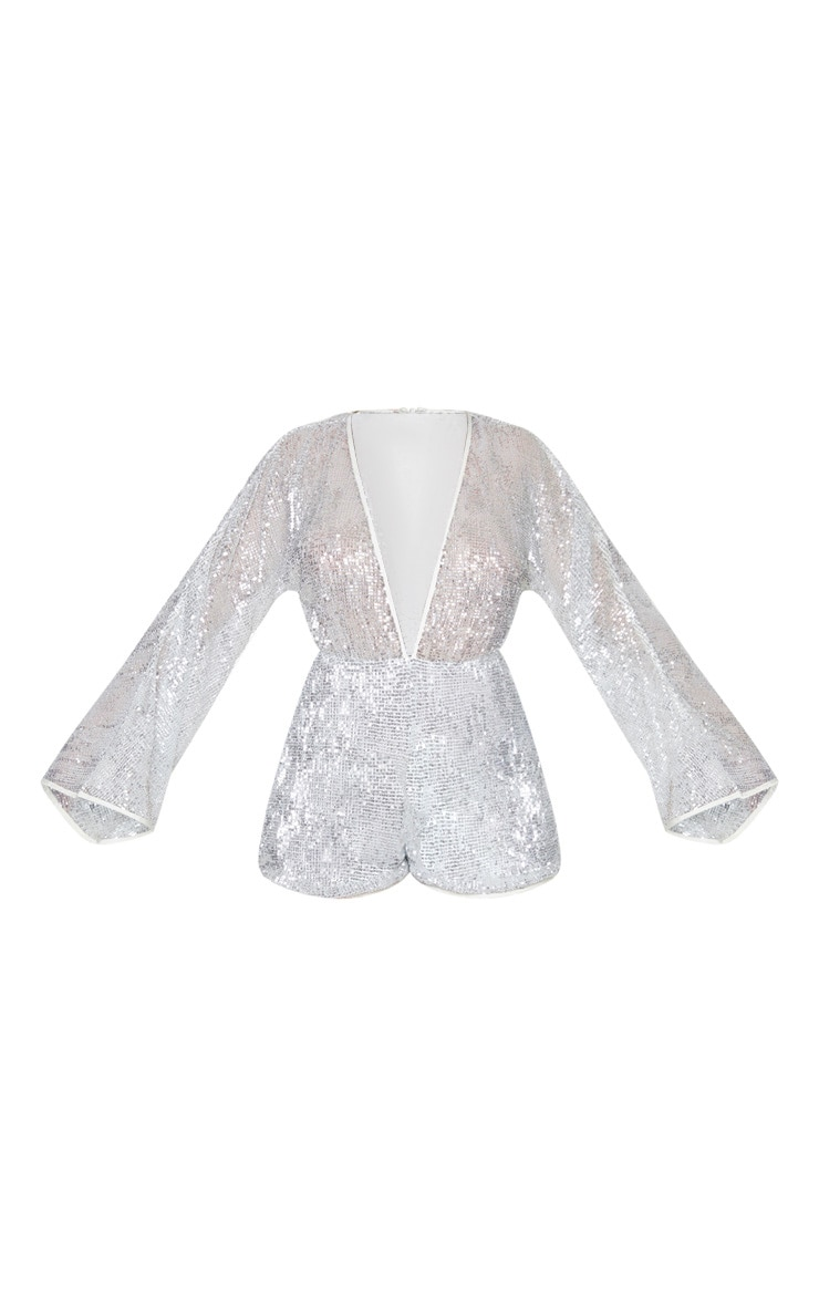 Silver Sequin Balloon Long Sleeve Playsuit 3
