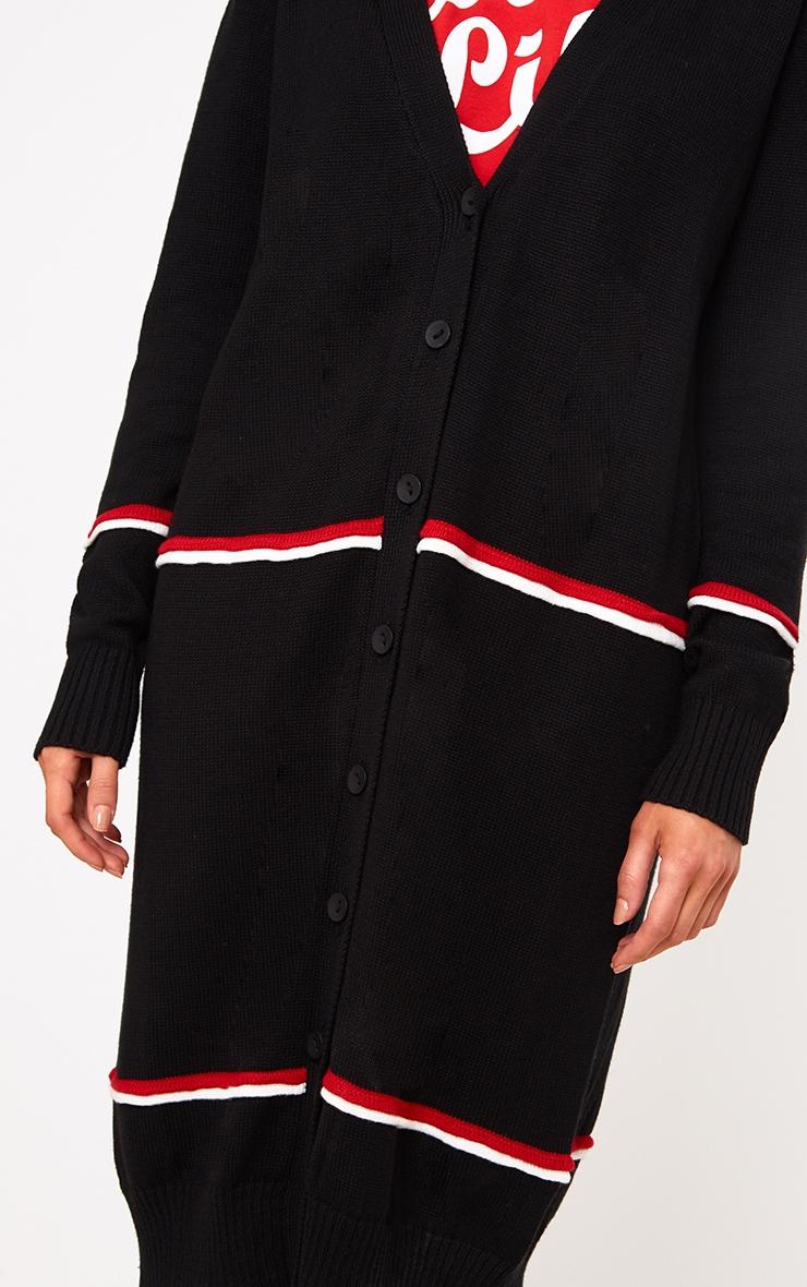 Black Stripe Long Line Button Cardigan 5