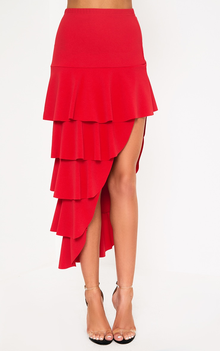 Red Tiered Split Maxi Skirt 2