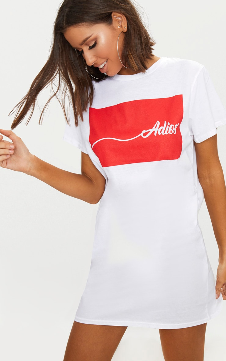 df4bc611e0 Adios White Oversized T Shirt Dress image 1