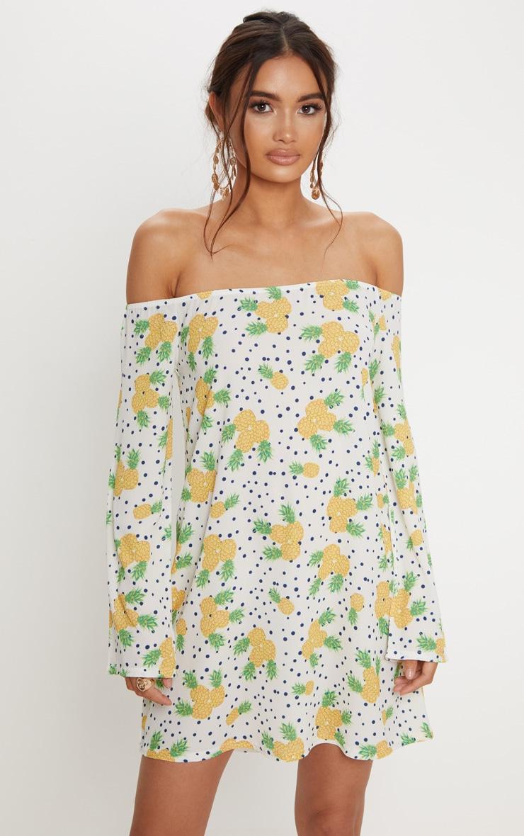 White Pineapple Print Bardot Flare Sleeve Smock Dress 4