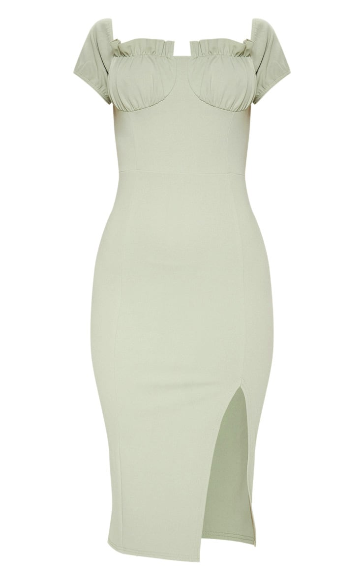 Sage Khaki Ruched Bust Cup Detail Midi Dress 3