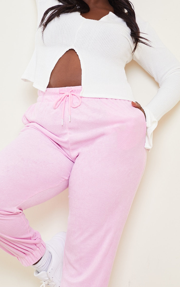 Plus Pink Towelling Joggers 4