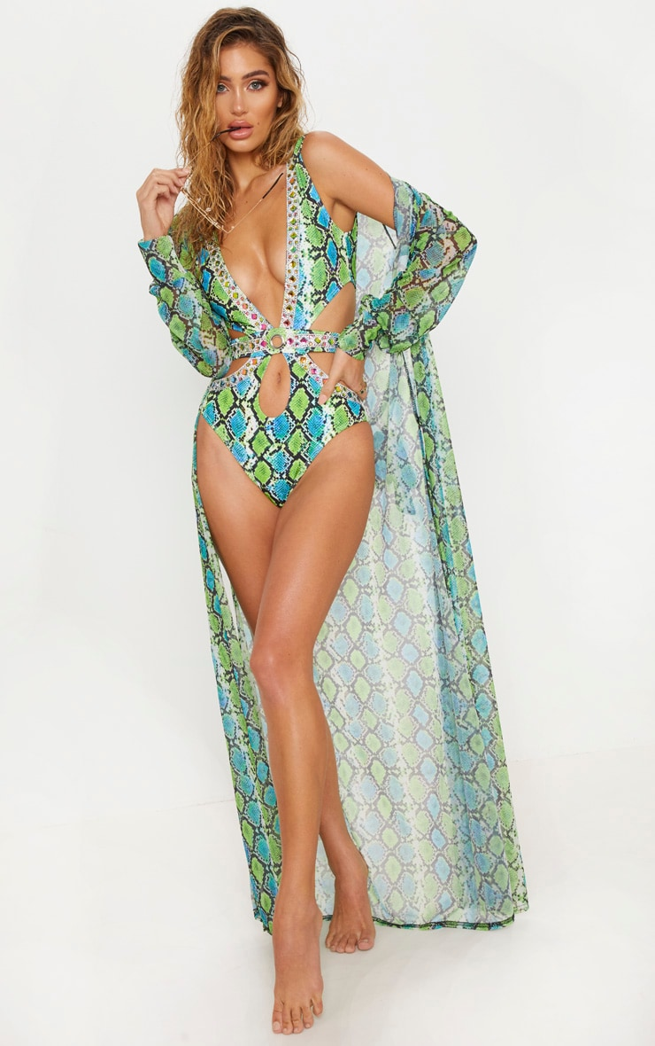 Premium Green Snake Cut Out Jewelled Pool Party Costume 6