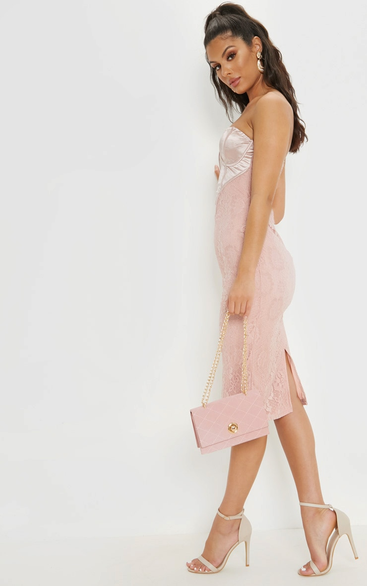 Dusty Pink Satin Bustier Lace Midi Dress 4
