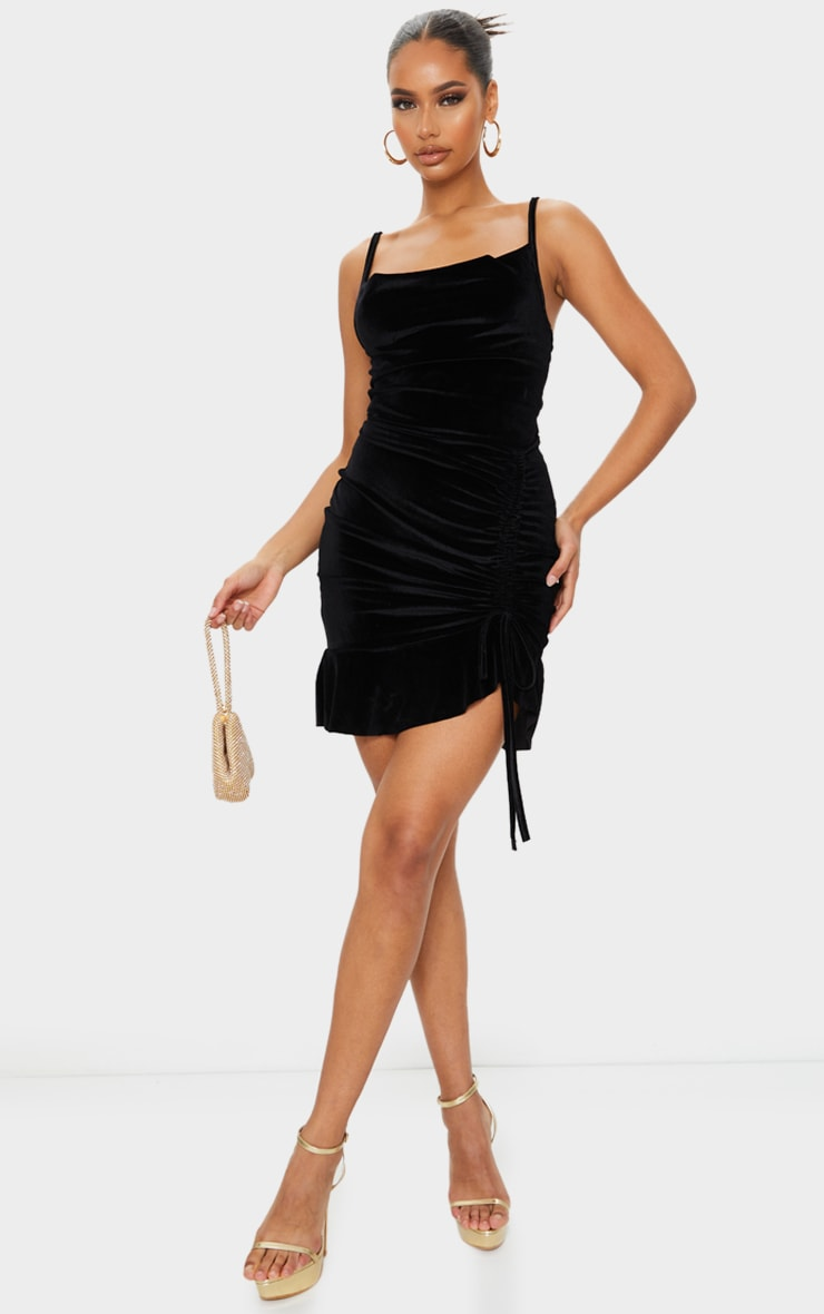 Black Velvet Strappy Ruched Frill Hem Bodycon Dress 1