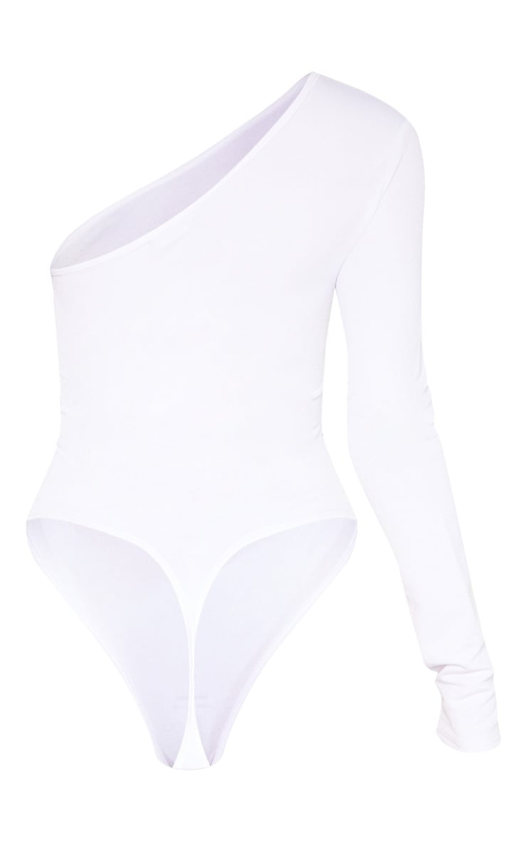 Tall White Stretch Crepe One Shoulder Thong Bodysuit 4
