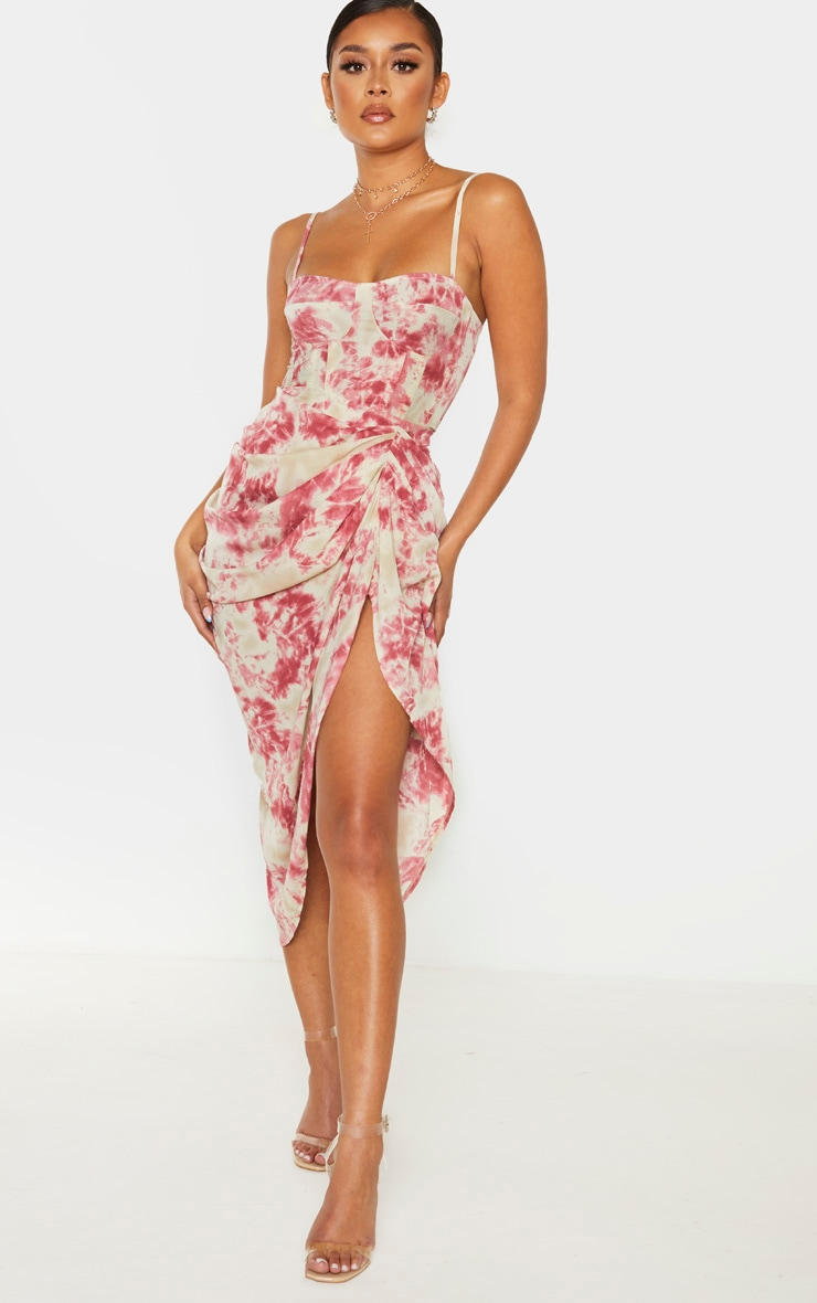 Fuschia Tie Dye Ruched Side Midi Skirt 1