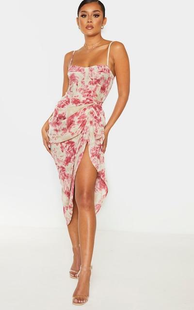 Fuschia Tie Dye Ruched Side Midi Skirt