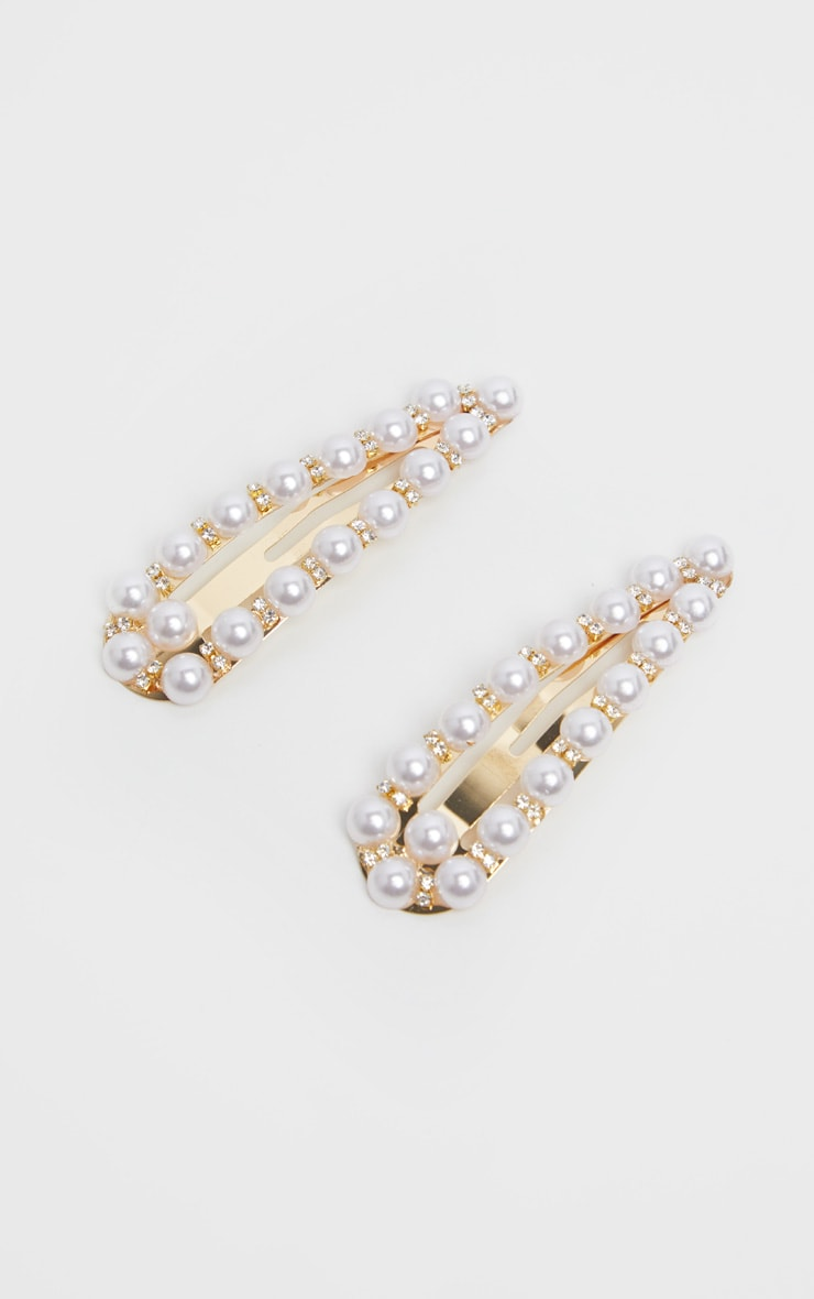 Gold Diamante And Pearl Snap Hair Clips Two Pack 1