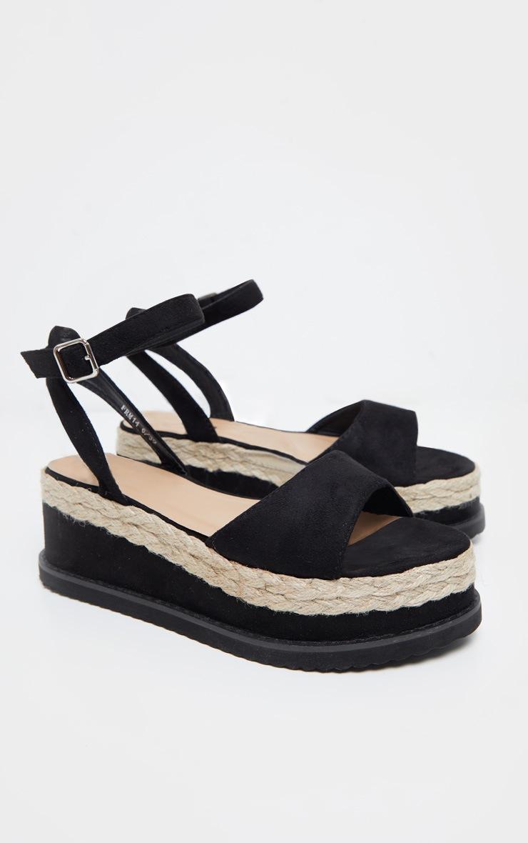 Black Faux Suede Flatform Sandal 4