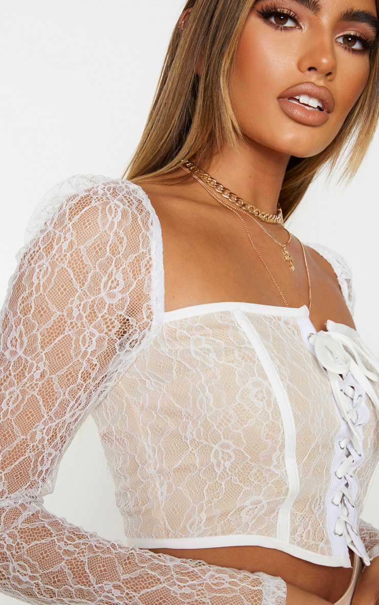 White Lace Curved Hem Lace Up Long Sleeve Top 4