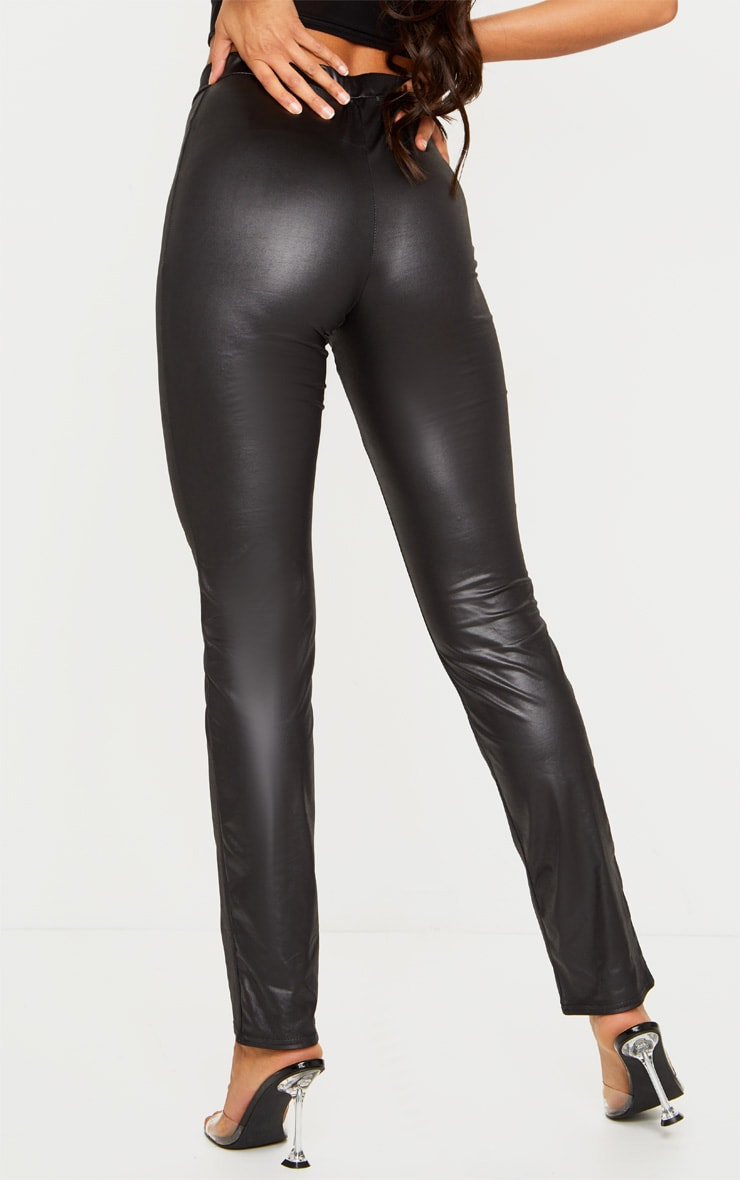 Pantalon droit effet huilé noir à détail taille en V 4