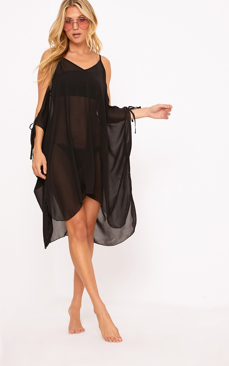 29d0b7c1fe Roslyn Black Chiffon Beach Cover Up Dress | Dresses ...