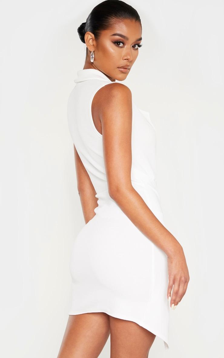 White Sleeveless Twist Front Plunge Blazer Dress 2