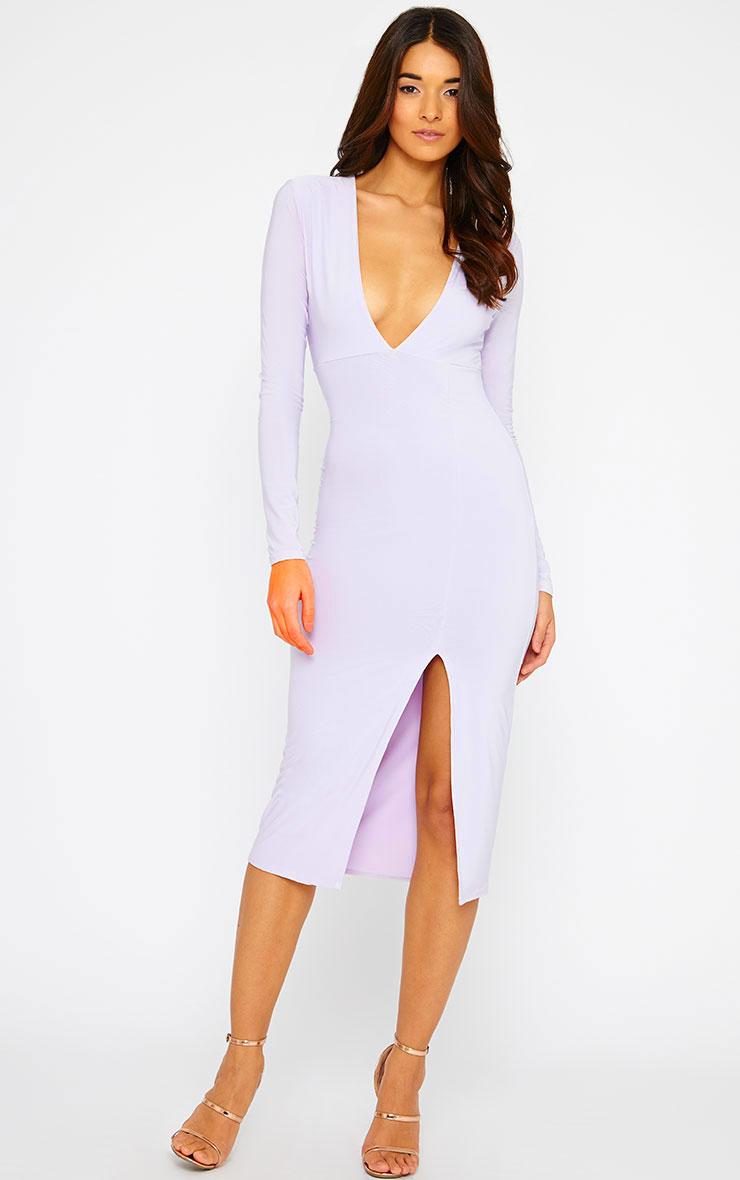 Christa Lilac Slinky Plunge Split Front Midi Dress 1