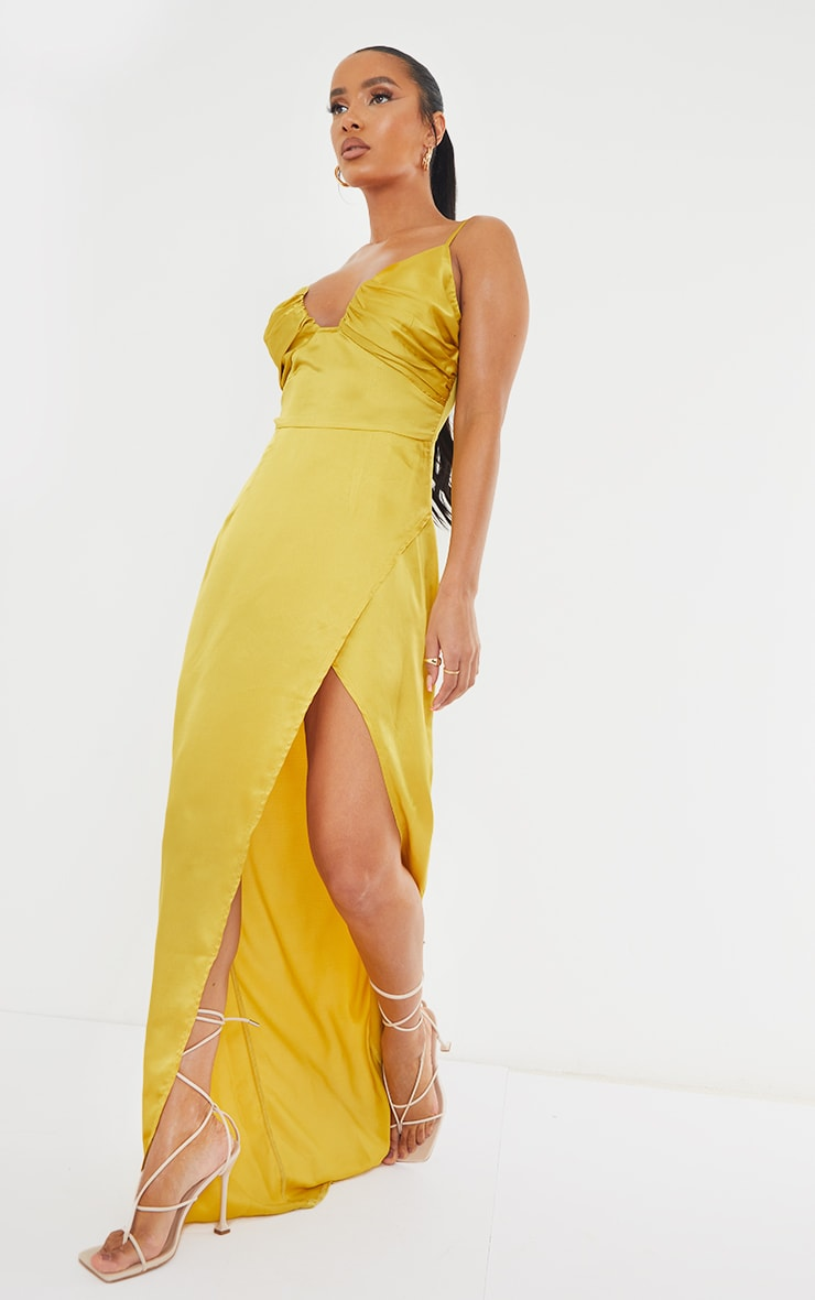 Chartreuse Ruched Bust Satin Maxi Dress 3