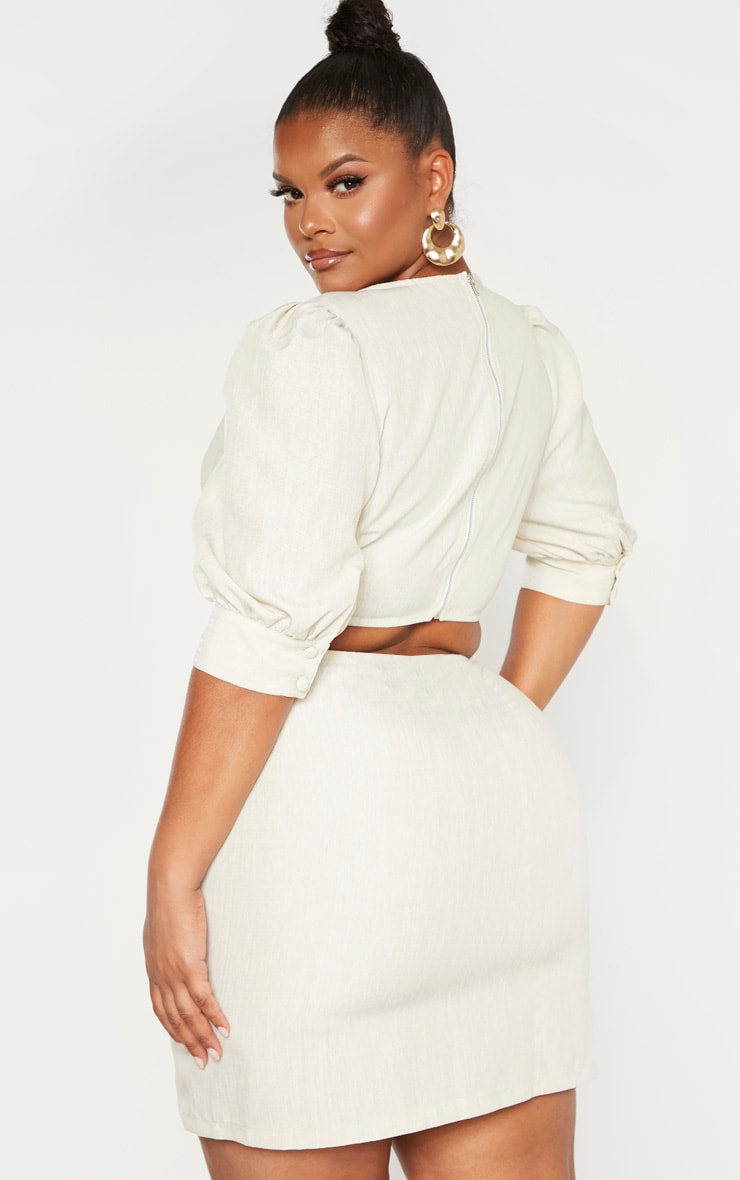 Plus Stone Woven Square Neck Puff Sleeve Crop Top  2