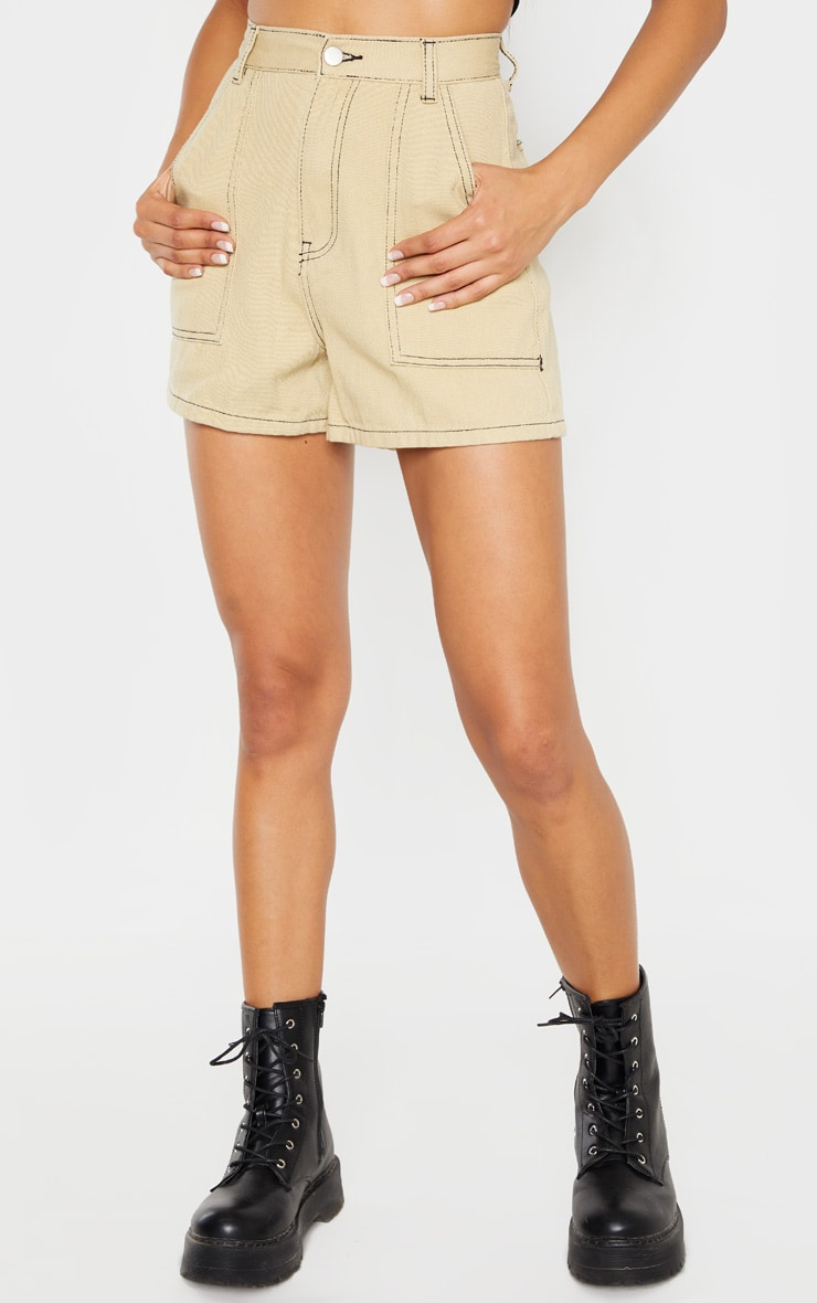 Stone With Black Contrast Stitch Denim Short 2
