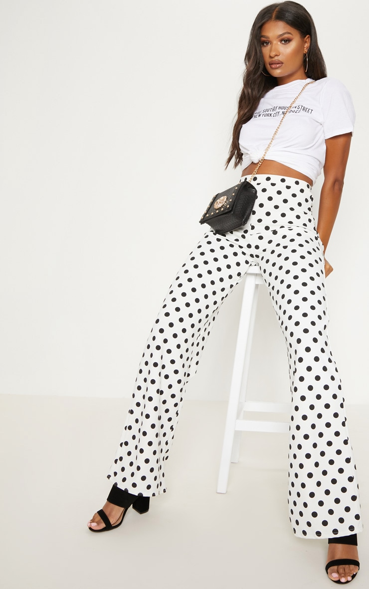 White High Waisted Polka Dot Wide Leg Trouser  1